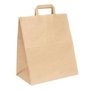 Крафт пакет бумажный с плоскими ручками